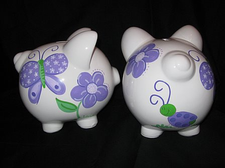 Piggy Bank Purple Luv Bugs Design