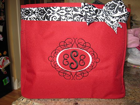 Monogrammed Tote Bag Red and Black