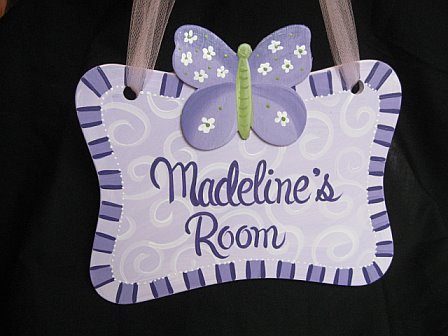 Door Sign Purple Luv Bugs Design