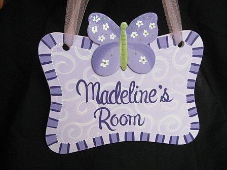 Door Sign Purple Luv Bugs Design