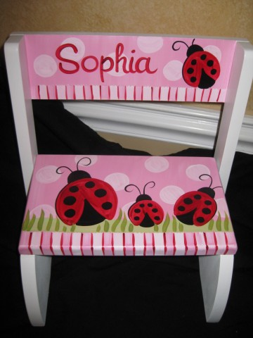 Chair Flip Step Stool Red and Pink Ladybug