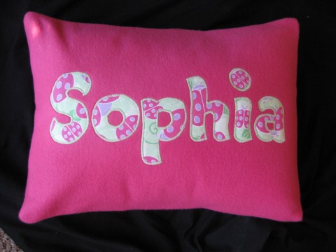 Personalized Fleece Pillow Pink Ladybug