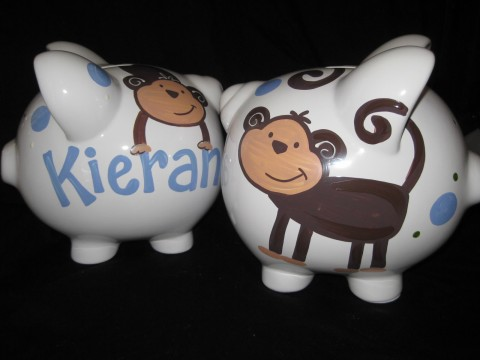 Piggy Bank Blue and Brown Monkey