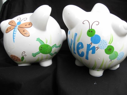 Piggy Bank Spring Meadow Boy