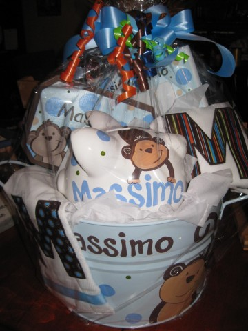 Gift Basket Blue and Brown Monkey