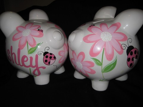Piggy Bank Lucy Pink and Black