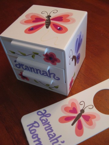 Jewelry Box and Door Hanger Set Butterfly Sorbet