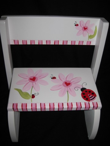 Chair Flip Step Stool Heart Ladybug