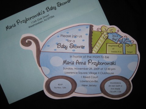 Invitation stroller baby shower