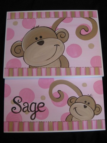 Storage Step Stool Pink and Brown Monkeys