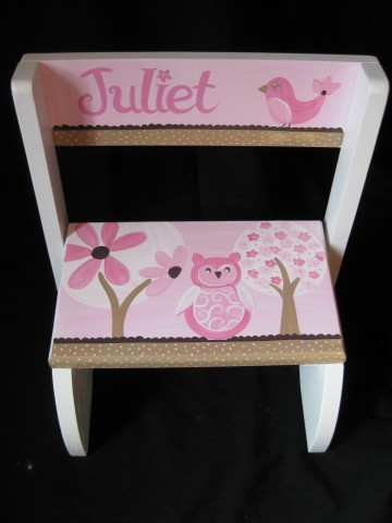 Chair Flip Step Stool Pink Owl