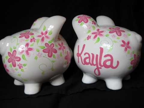 Piggy Bank Pink Fun Flower Shabby Chic