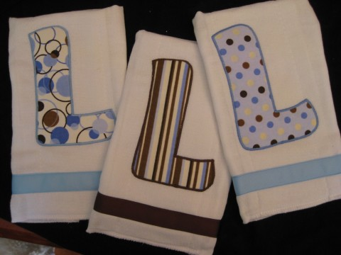 Initial Burp Cloth set of three Brown and Blue