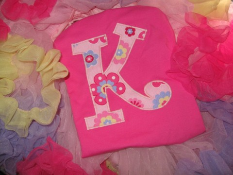 Initial Shirt Katie Pink and Lavandar Fun Flower