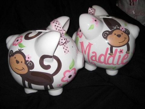 Piggy Bank Pink and Brown Monkey