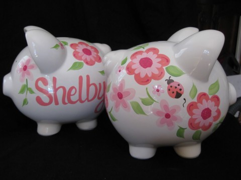 Piggy Bank Hot Pink Luv Bugs