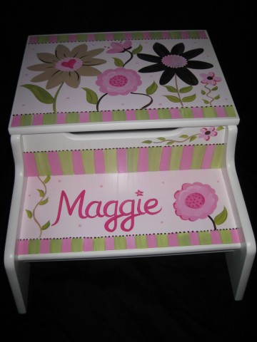 Storage Step Stool Mix and Match Pink and Brown