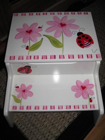 Storage Step Stool Pink Heart Ladybug