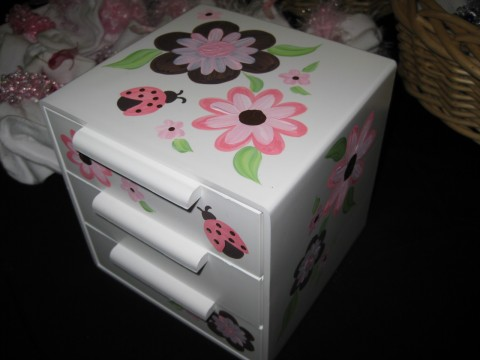 Jewelry Box Bow Holder Pink and Brown Luv Bugs