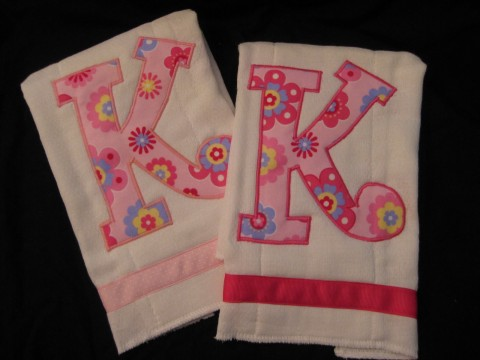 Initial Burp Cloth set of two pink fun flower