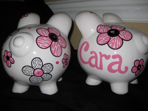 Piggy Bank Bling Pink Zebra Flower