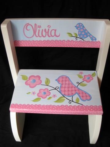 Chair Flip Step Stool Love Birds