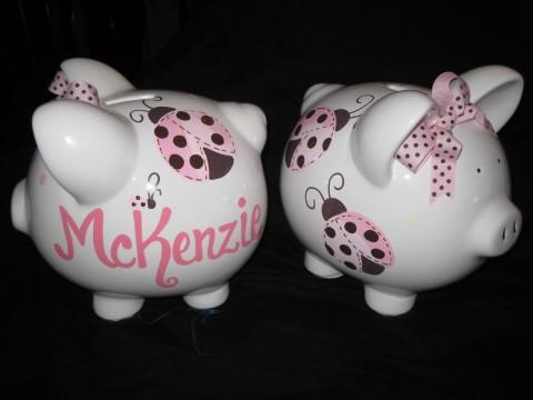 Piggy Bank Mod Ladybug Pink and Brown