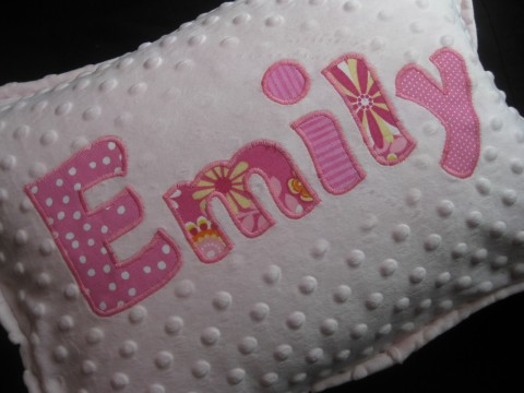 Personalized minky pillow pink and yellow Emily