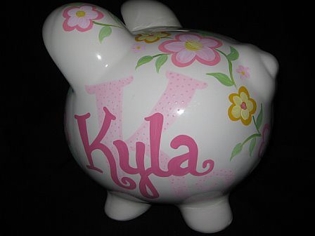 Piggy Bank Initial Pink and Yellow Flowers
