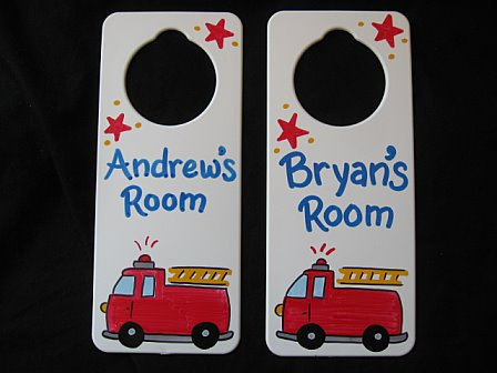 Door Sign Favor Firetruck