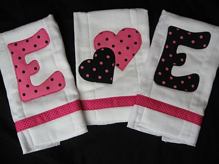 "Personalized Initial 3 Burp Cloths ""Kayla"""