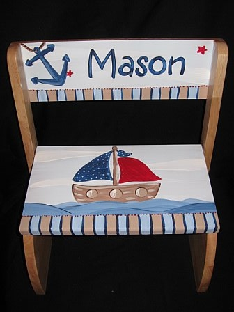 Chair Flip Step Stool Nautical