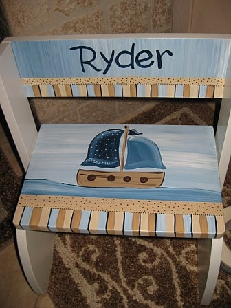Chair Flip Step Stool Blue and Brown Sailboat