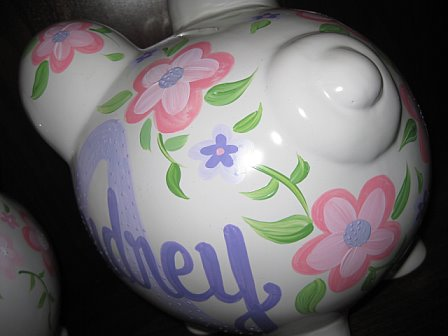 Piggy Bank Pink and Lavendar Initial