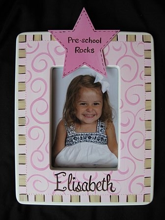 Picture Frame Preschool Rocks pink and brown