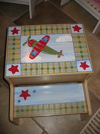 Storage Step Stool Vintage Airplane