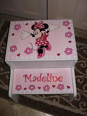Storage Step Stool Pink Minnie Mouse