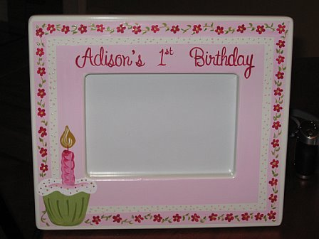 First Birthday Picture Frame Pink Cupcake
