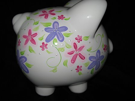 Piggy Bank Fun Flower Pink and Purple