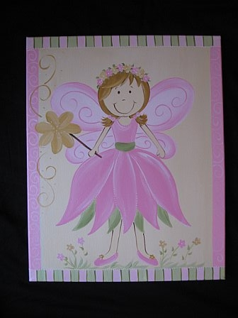 Custom Canvas Pink and Yellow Fairy