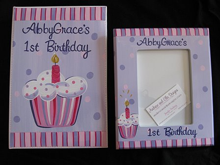 First Birthday Picture Frame and Photo Album lil cupcake set