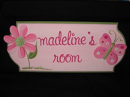Door Sign Pink Butterfly
