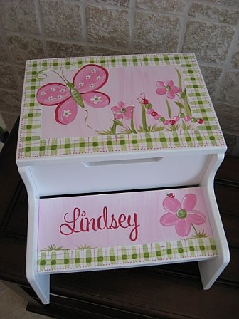 Storage Step Stool Pink Spring Meadow Design