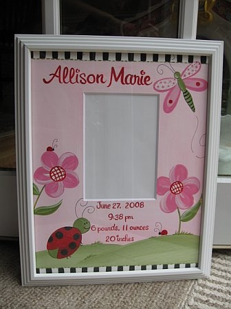 Birth Announcement Frame Red Ladybug