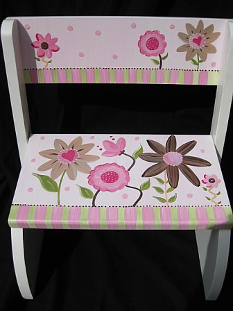 Chair Flip Step Stool Mix and Match Brown Flowers