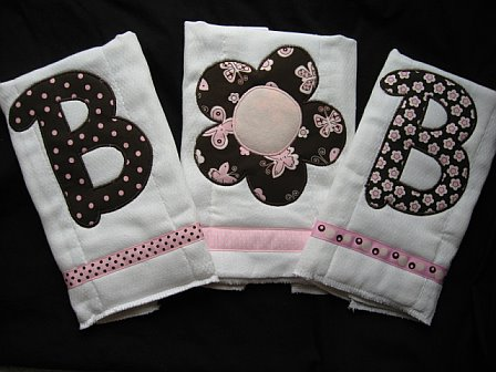 "Personalized Initial 3 Burp Cloths ""Bella"""