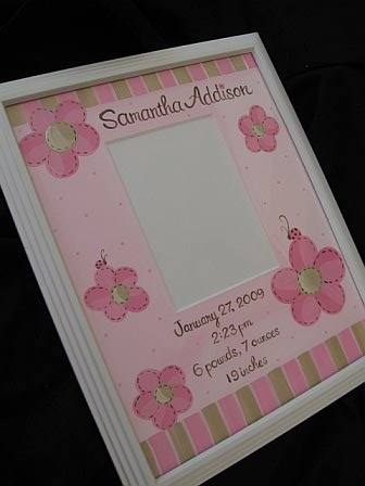 Birth Announcement Frame Pop Daisy Ladybug
