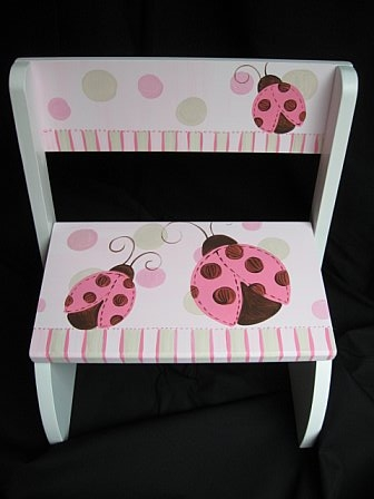 Chair Flip Step Stool Mod Ladybug Pink and Brown