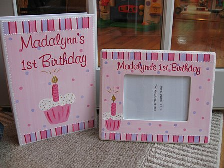 First Birthday Picture Frame and Matching Photo Album Pink polka dot