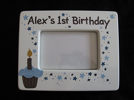 First Birthday Picture Frame Blue and Brown Cupcake